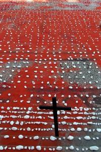 Cada pedra simbolizava o número de mortes violentas no Estado do Rio nos últimos 28 meses